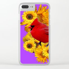 RED CARDINAL & YELLOW SUNFLOWERS PANTENE PURPLE Clear iPhone Case
