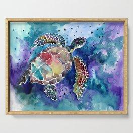 Sea Turtle underwater, beach deep blue barine blue turtle beach style design Serving Tray