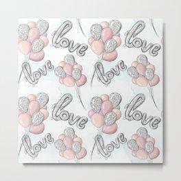 Pink and Gray Love Ballons Metal Print
