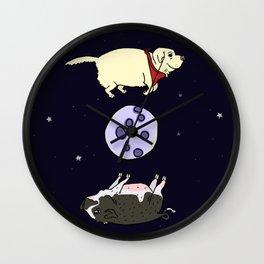 Dog and Pig Circle the Moon Wall Clock