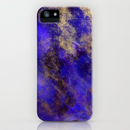 Modern Royal Blue and Gold Abstract iPhone Case
