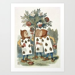 Alice in Wonderland - Painting the roses Art Print