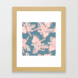 Tropical Palm Leaves Hibiscus Flowers Pink Blue Framed Art Print