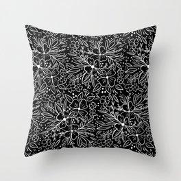 Chalk Florals in black Throw Pillow
