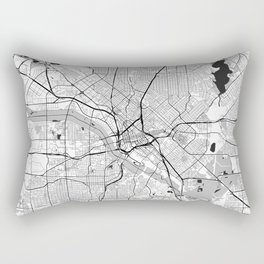 Dallas Map Gray Rectangular Pillow