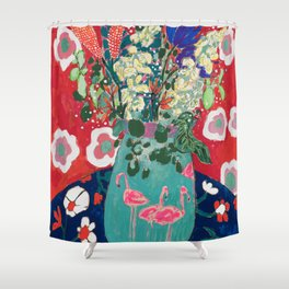 Wild Flowers in Flamingo Vase Floral Painting Shower Curtain