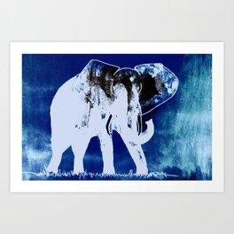 Elephant (blue version) Art Print