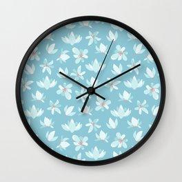 Elegant pastel blue white coral modern floral illustration Wall Clock