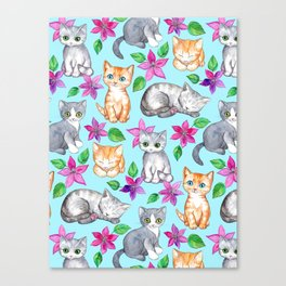 Kittens and Clematis - blue Canvas Print