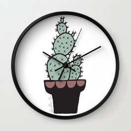 Cactus and Aloe Vera on pink Wall Clock
