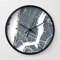 new york map Wall Clocks featuring New York City map by Studio Tesouro