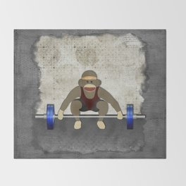 Sock Monkey Bodybuilder Throw Blanket
