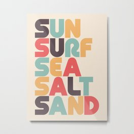 Sun Surf Sea Salt Sand Typography - Retro Rainbow Metal Print