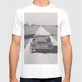 Triumph spitfire on a gravelly road in southern Italy, english sports car, fine art photography T-shirt