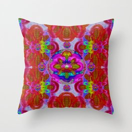 fantasy   florals  pearls in abstract rainbows Throw Pillow