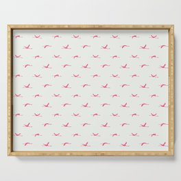 Flamingos flying | Pink - Off White | Pattern | Silhouette | Chantilly Lace Benjamin Moore 2121-70 Serving Tray