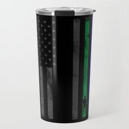 Thin Blue Line, Red Line, Green Line Flag Travel Mug