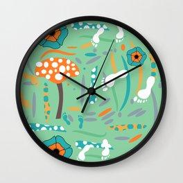 Playful mushroom and flowers Wall Clock