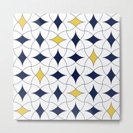 Blue and Yellow Diamond Modern Mid Century Geometric Pattern Scandinavian Rustic Interior 06 Metal Print