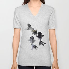 Black Moor, Feng Shui Koi Fish Art, Three Fish black fish decor Unisex V-Neck