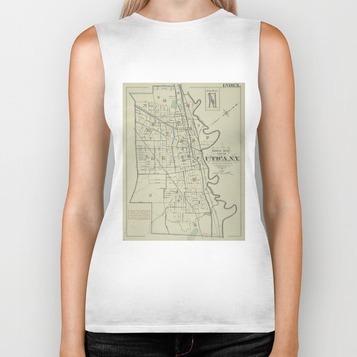 Vintage Map of Utica New York (1883) Biker Tank