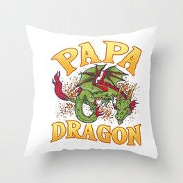 Fearsome Papa Dragon Dad Father's Day Fantasy Throw Pillow