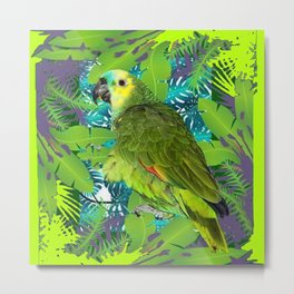 DECORATIVE GREEN PARROT JUNGLE GRAY-GREEN ART Metal Print