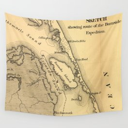Vintage Map of The Outer Banks (1862) Wall Tapestry