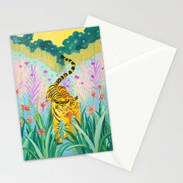 Tigers in Garden Stationery Cards
