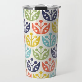 Mid Century Flower Pattern multicolored Travel Mug
