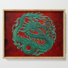 Wooden Jade Dragon Carving on Red Background Serving Tray