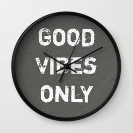 """Good Vibes Only""  Typography Motivational Quote Wall Clock"