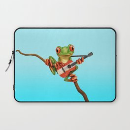 Tree Frog Playing Acoustic Guitar with Flag of Austria Laptop Sleeve