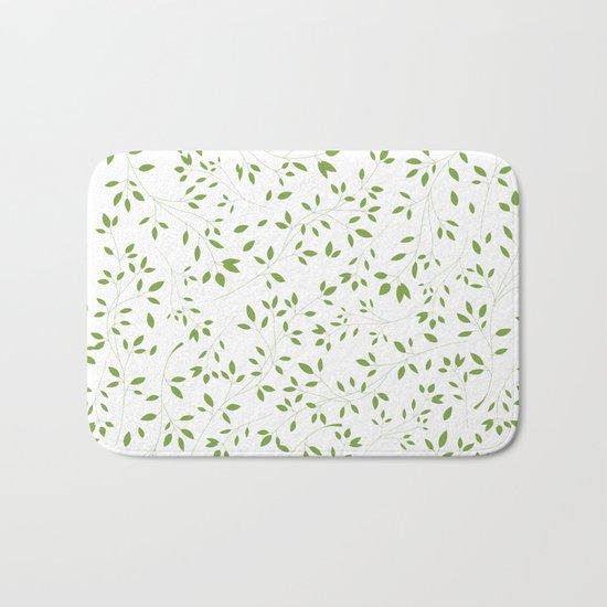 Leaves Pattern in Green & White Bath Mat