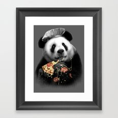 PANDA LOVES PIZZA Framed Art Print