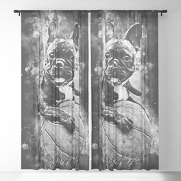 french bulldog basketball splatter watercolor black white Sheer Curtain