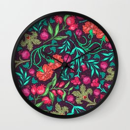 Asian-Inspired Happy Joy Colorful Floral Pattern Wall Clock