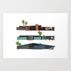Original Mid Century Modern Houses Art Print