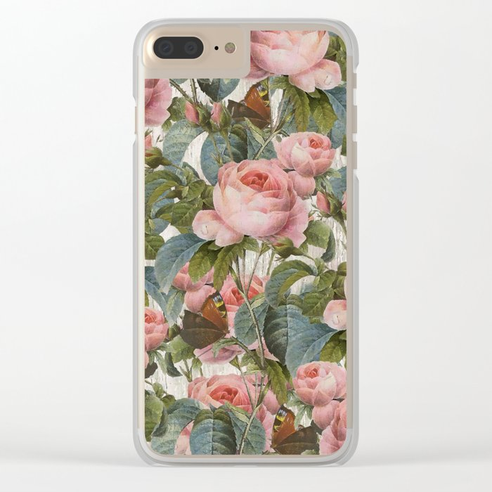 Floral roses pattern Clear iPhone Case