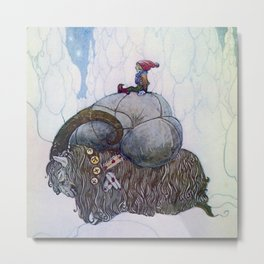 """The Julbock"" Christmas Goat by John Bauer Metal Print"