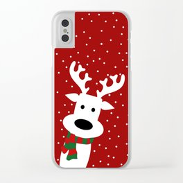 Reindeer in a snowy day (red) Clear iPhone Case