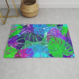 monstera leaves tropical Rug