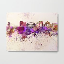 Bucharest skyline in watercolor background Metal Print