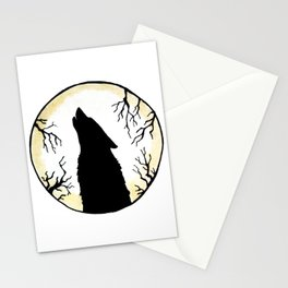 Wolf Moon Silhouette Stationery Cards