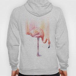 Pink Flamingo Watercolor Bird Animals Whimsical Animal Hoody