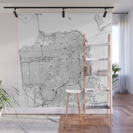 San Francisco White Map Wall Mural