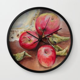 RED APPLES on the table Classic Still life Painting Wall Clock