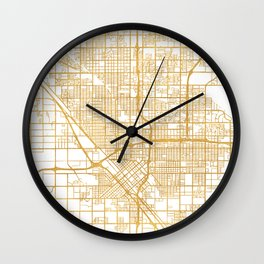 FRESNO CALIFORNIA CITY STREET MAP ART Wall Clock