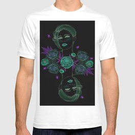 Woman with flowers and beetles T-shirt