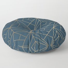 Benjamin Moore Hidden Sapphire Gold Geometric Pattern With White Shimmer Floor Pillow